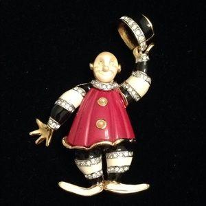 Vintage Kenneth Jay Lane's Tipsy Clown Pin